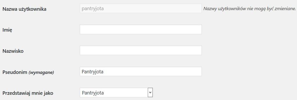 dane użytkownika